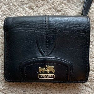 Small Coach Wallet Black Leather